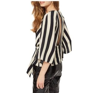 TOPSHOP Humbug Striped Slouch Knotted Blouse US 4